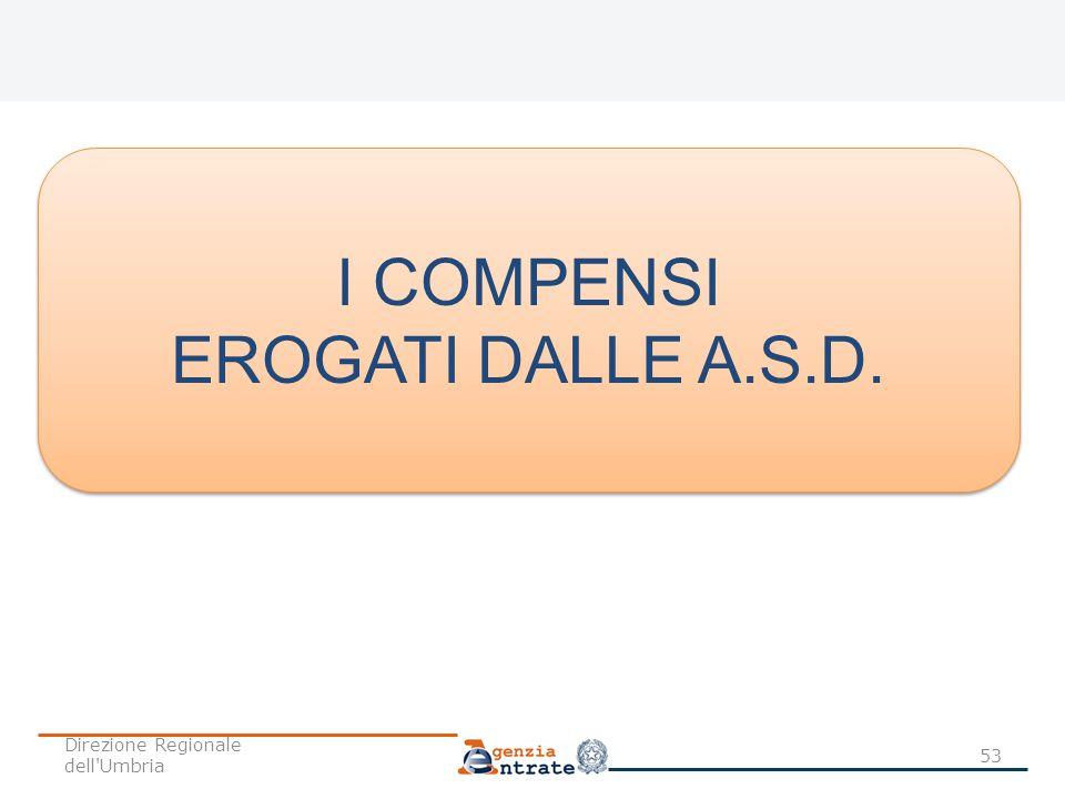 I COMPENSI EROGATI DALLE A.S.D. Direzione Regionale dell Umbria