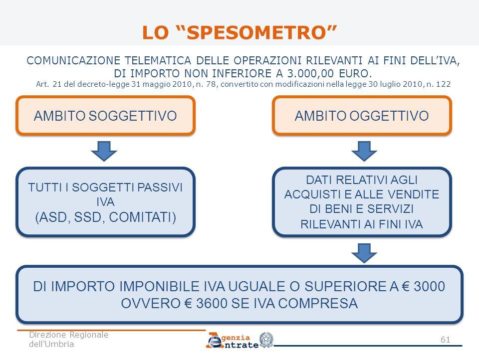 LO SPESOMETRO DI IMPORTO IMPONIBILE IVA UGUALE O SUPERIORE A € 3000
