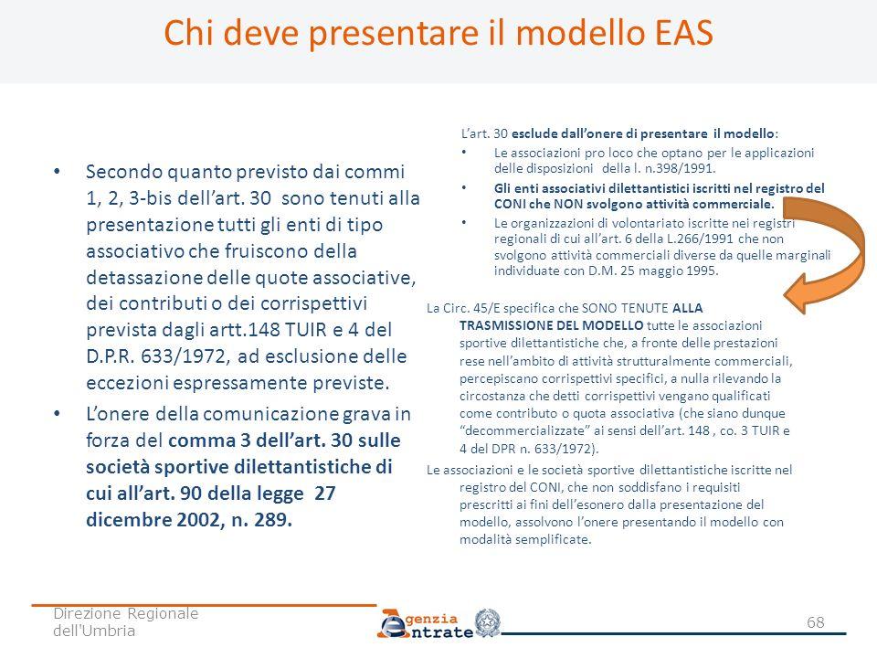 Chi deve presentare il modello EAS