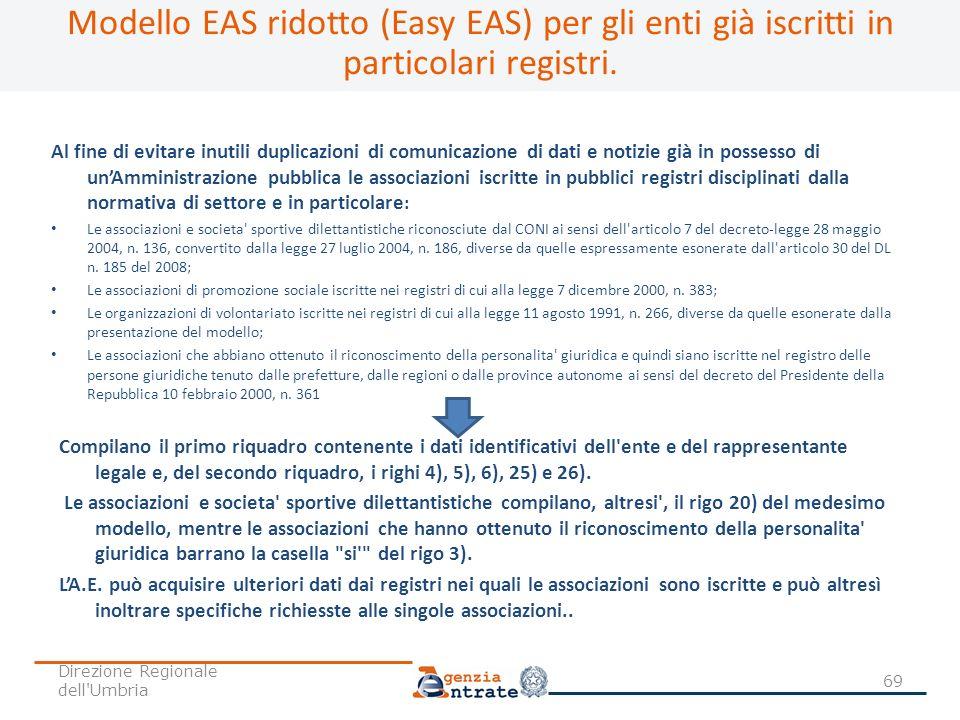 Modello EAS ridotto (Easy EAS) per gli enti già iscritti in particolari registri.