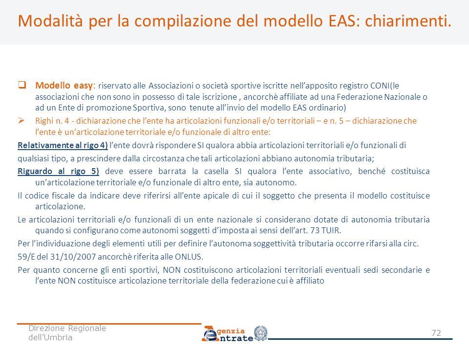 Modalità per la compilazione del modello EAS: chiarimenti.