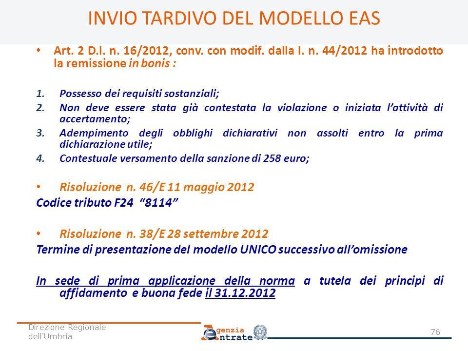 INVIO TARDIVO DEL MODELLO EAS