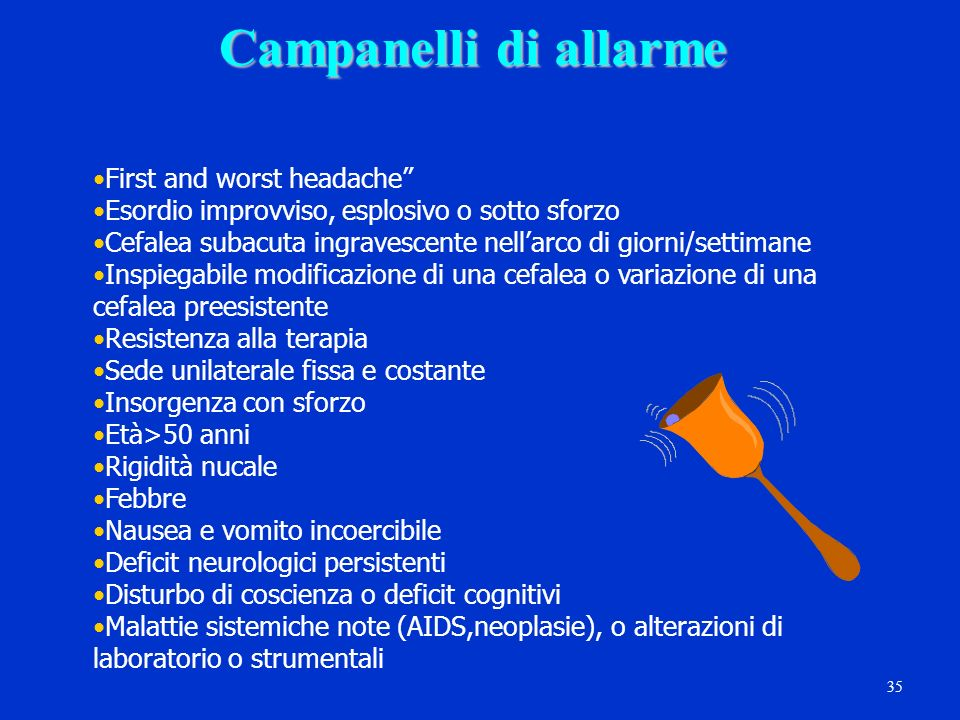 Campanelli di allarme First and worst headache