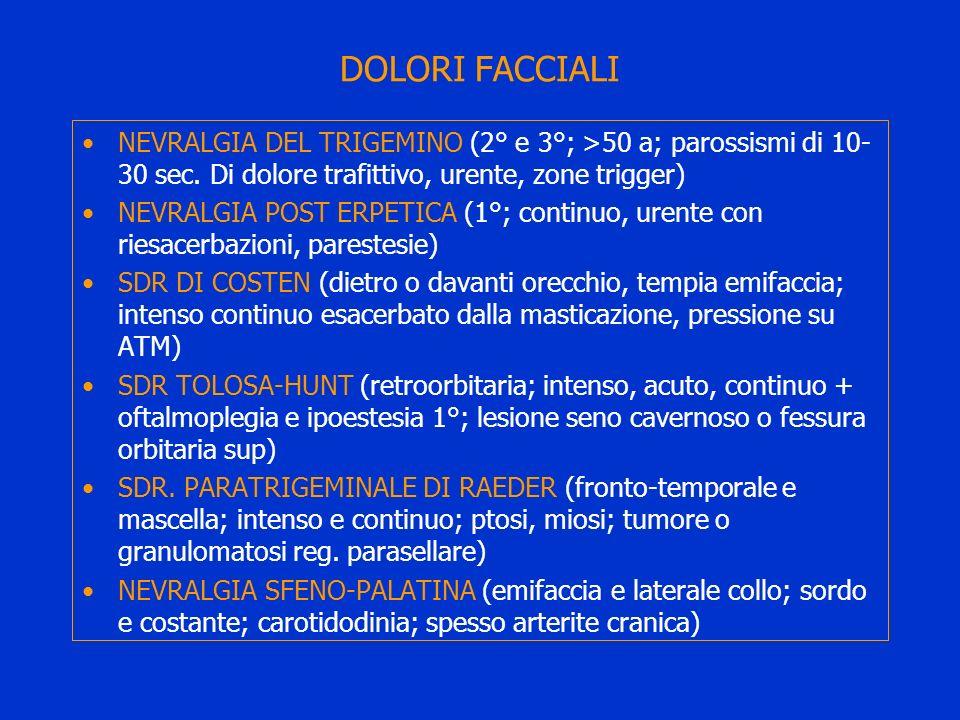 DOLORI FACCIALI NEVRALGIA DEL TRIGEMINO (2° e 3°; >50 a; parossismi di 10-30 sec. Di dolore trafittivo, urente, zone trigger)