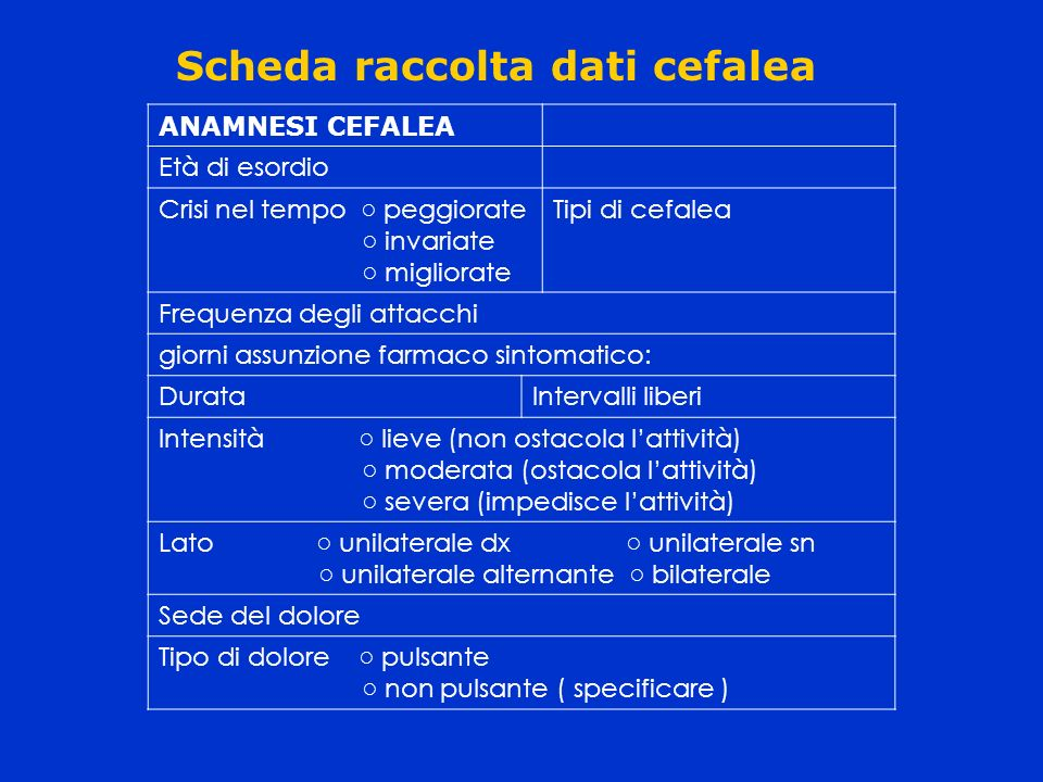 Scheda raccolta dati cefalea