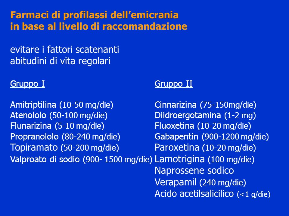 Farmaci di profilassi dell'emicrania