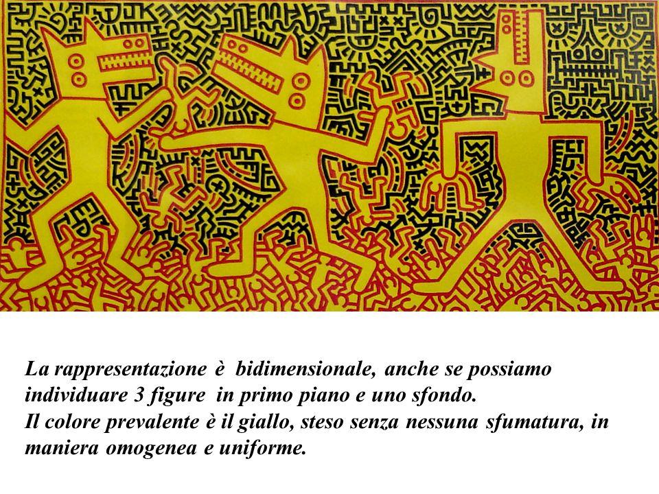 La rappresentazione è bidimensionale, anche se possiamo individuare 3 figure in primo piano e uno sfondo.