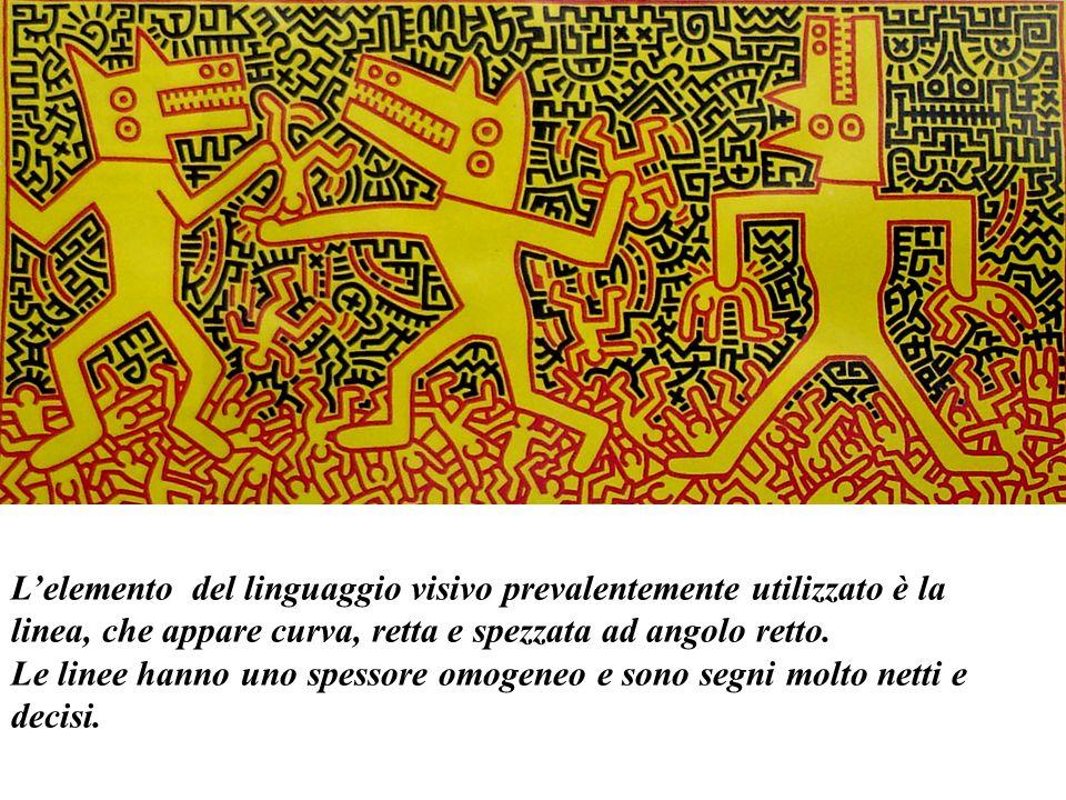 L'elemento del linguaggio visivo prevalentemente utilizzato è la linea, che appare curva, retta e spezzata ad angolo retto.