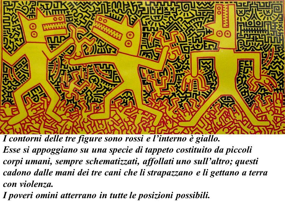 I contorni delle tre figure sono rossi e l'interno è giallo.