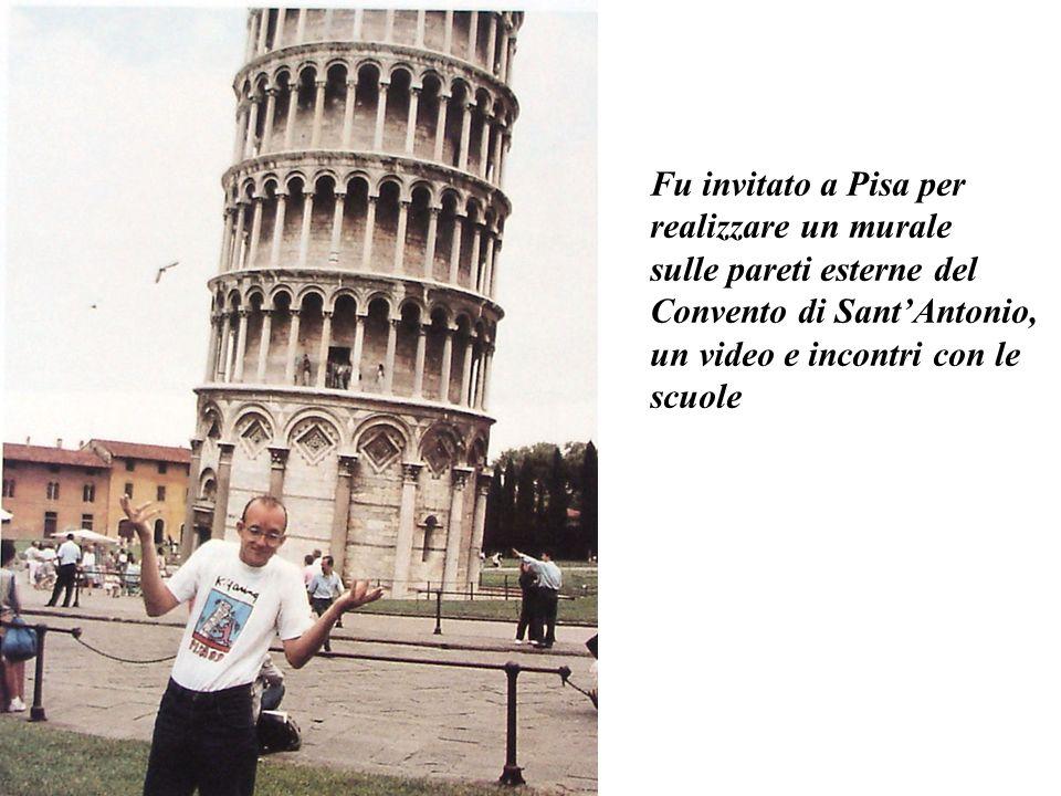 Fu invitato a Pisa per realizzare un murale. sulle pareti esterne del. Convento di Sant'Antonio, un video e incontri con le.
