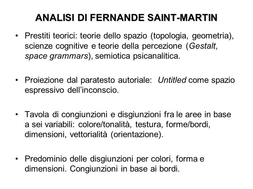 ANALISI DI FERNANDE SAINT-MARTIN