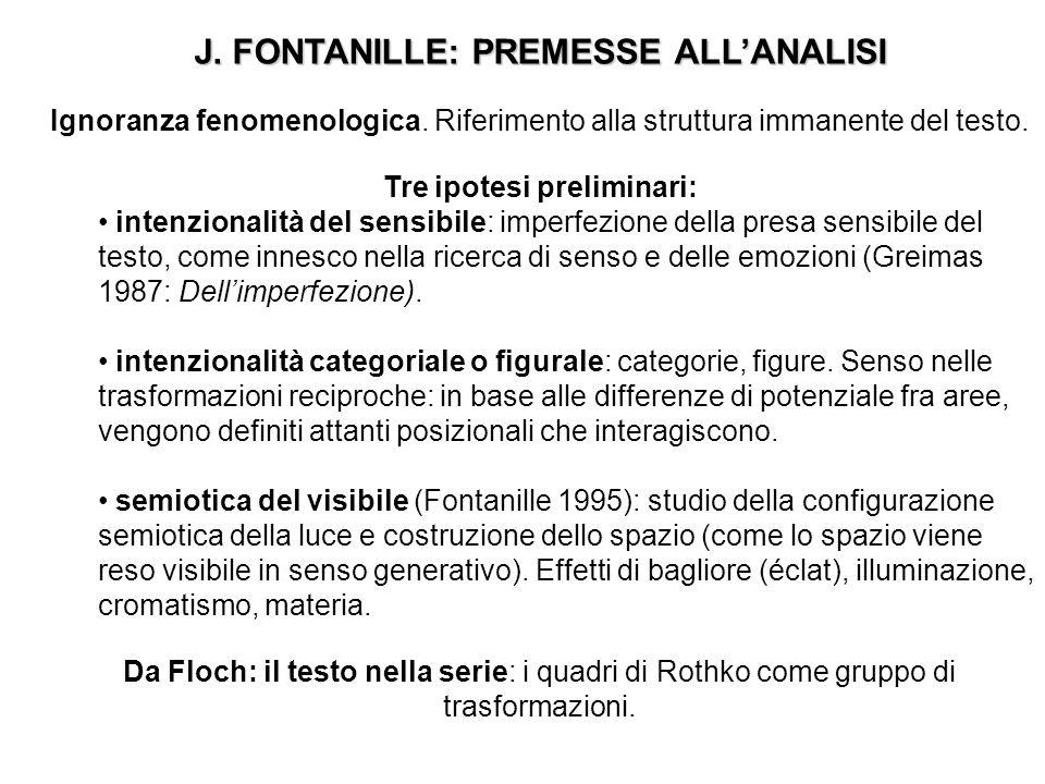 J. FONTANILLE: PREMESSE ALL'ANALISI Tre ipotesi preliminari: