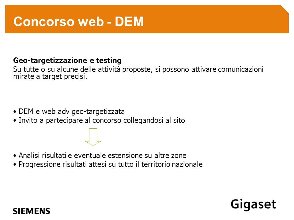 Concorso web - DEM Geo-targetizzazione e testing