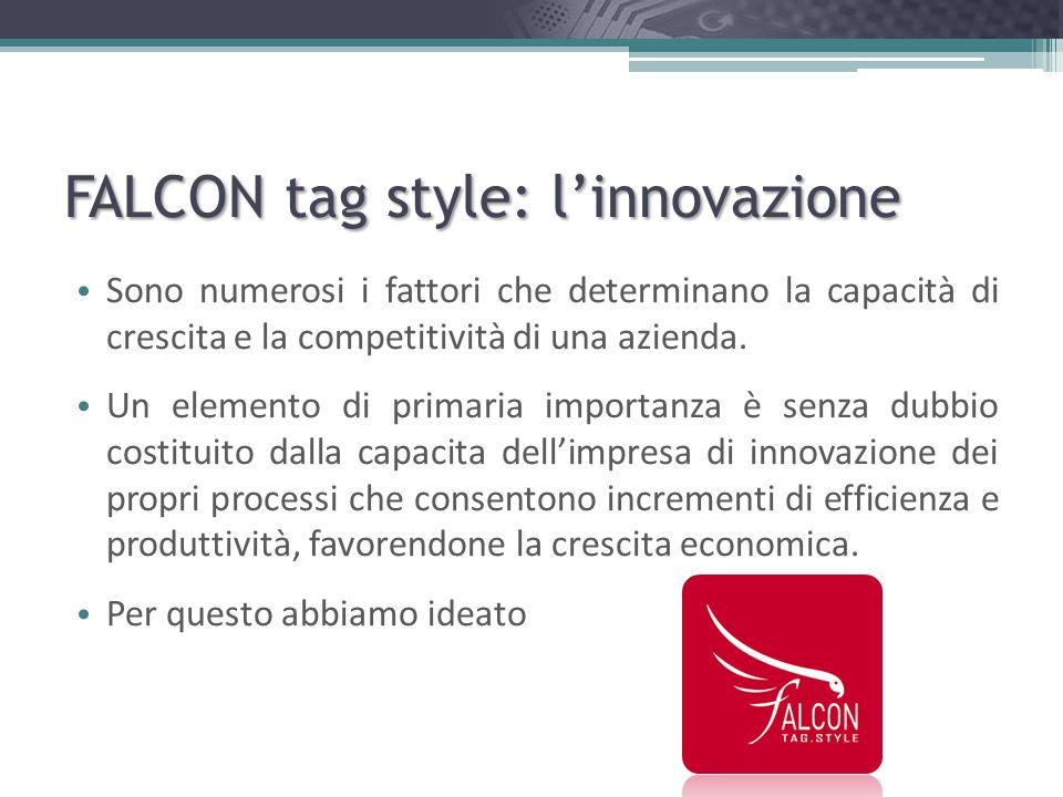 FALCON tag style: l'innovazione