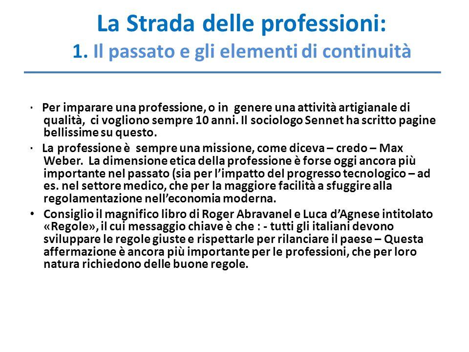 La Strada delle professioni: 1. Il passato e gli elementi di continuità