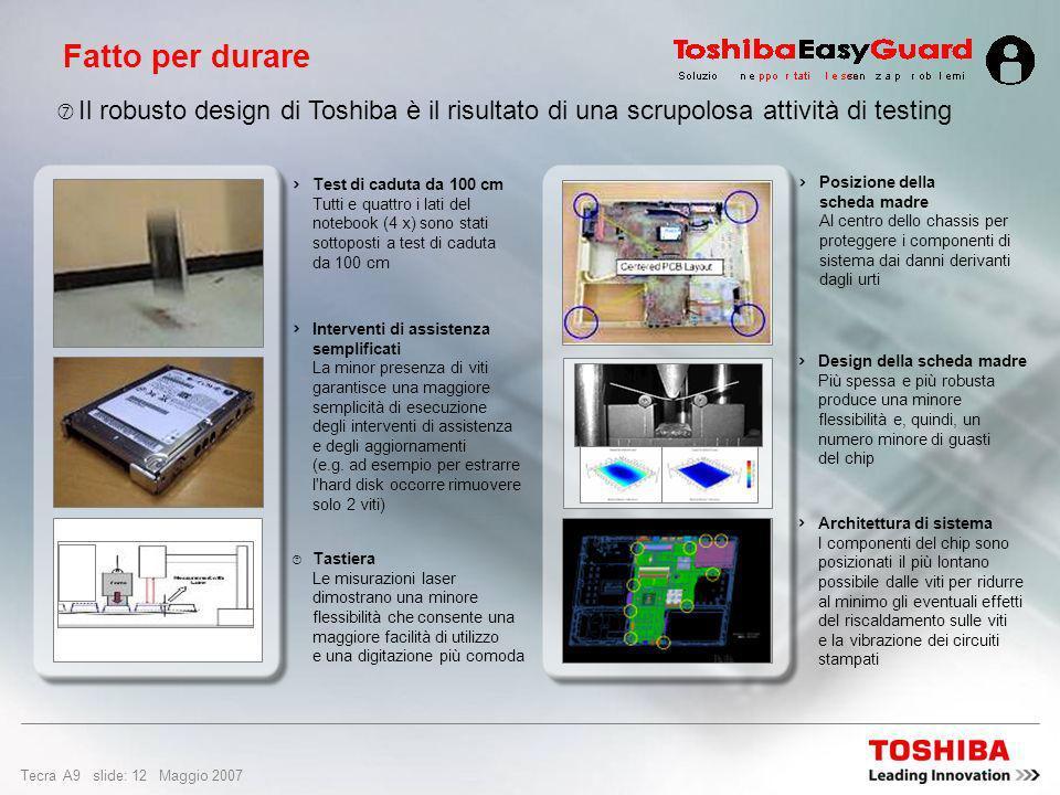 Fatto per durare Il robusto design di Toshiba è il risultato di una scrupolosa attività di testing.