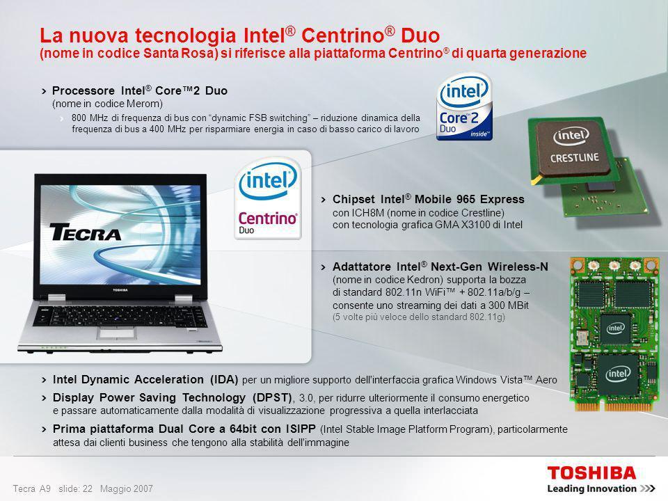 La nuova tecnologia Intel® Centrino® Duo (nome in codice Santa Rosa) si riferisce alla piattaforma Centrino® di quarta generazione