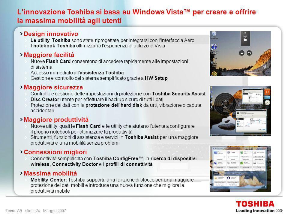 L innovazione Toshiba si basa su Windows Vista™ per creare e offrire la massima mobilità agli utenti