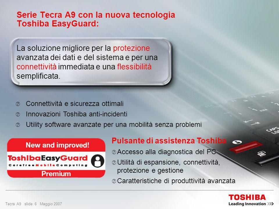 Serie Tecra A9 con la nuova tecnologia Toshiba EasyGuard: