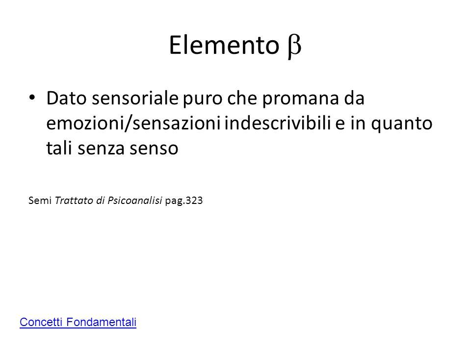 Elemento b Dato sensoriale puro che promana da emozioni/sensazioni indescrivibili e in quanto tali senza senso.