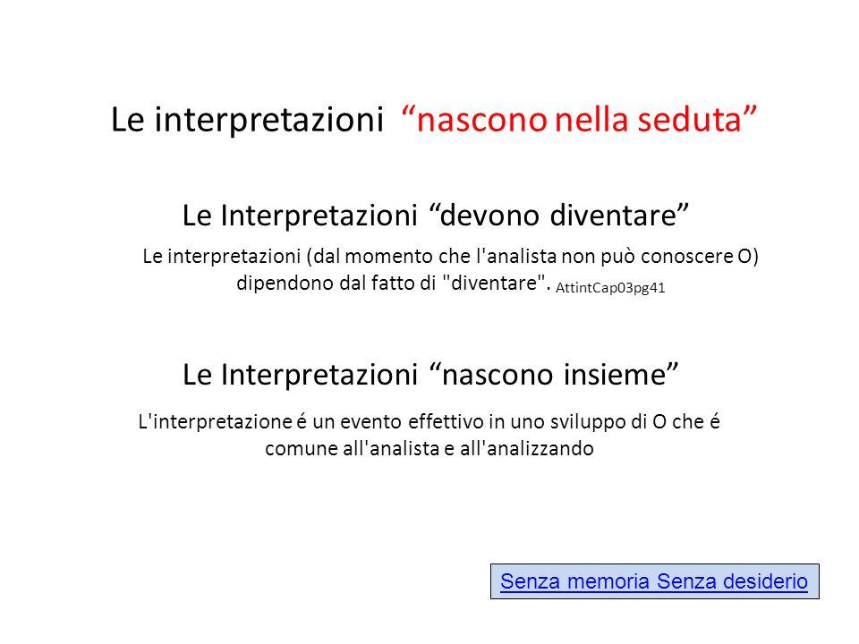 Le interpretazioni nascono nella seduta