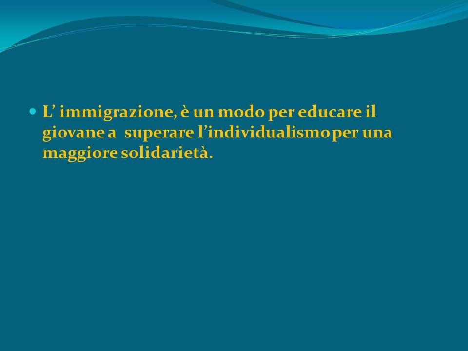 L' immigrazione, è un modo per educare il giovane a superare l'individualismo per una maggiore solidarietà.