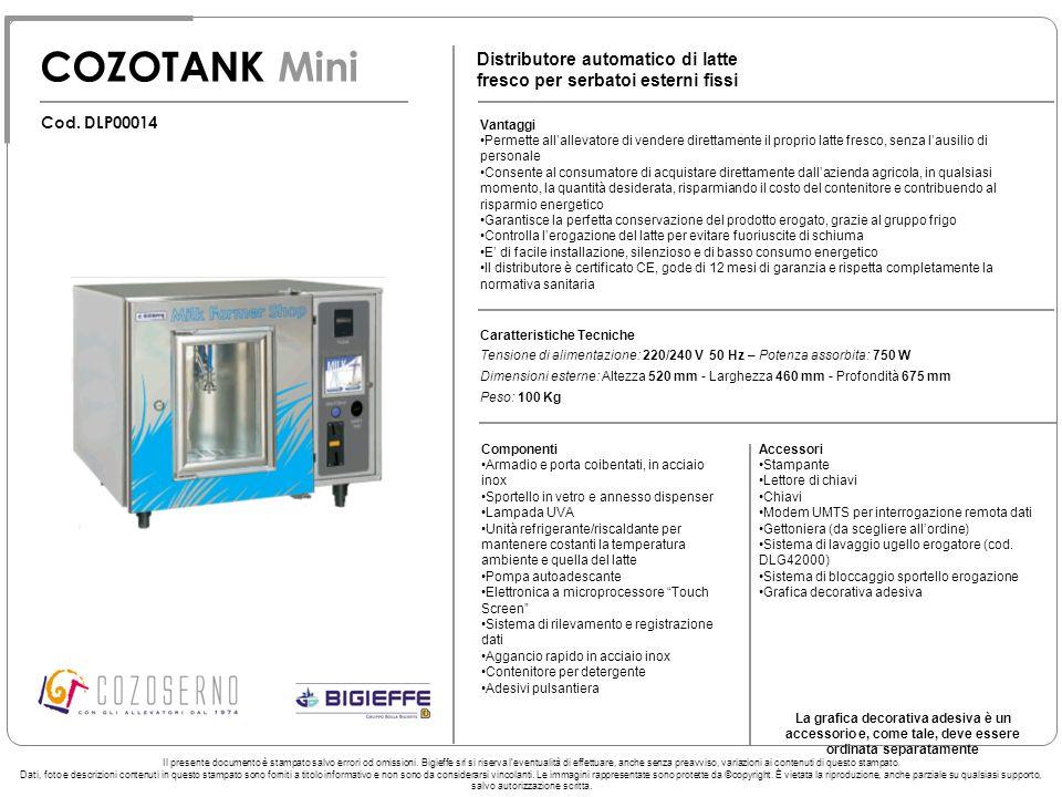 COZOTANK Mini Distributore automatico di latte fresco per serbatoi esterni fissi. Cod. DLP00014. Vantaggi.