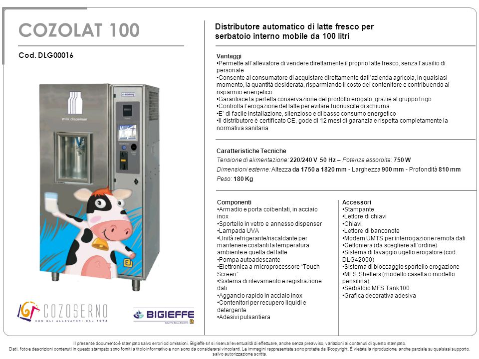 COZOLAT 100 Distributore automatico di latte fresco per serbatoio interno mobile da 100 litri. Cod. DLG00016.