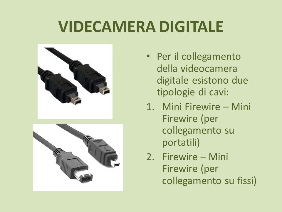 VIDECAMERA DIGITALE Per il collegamento della videocamera digitale esistono due tipologie di cavi: