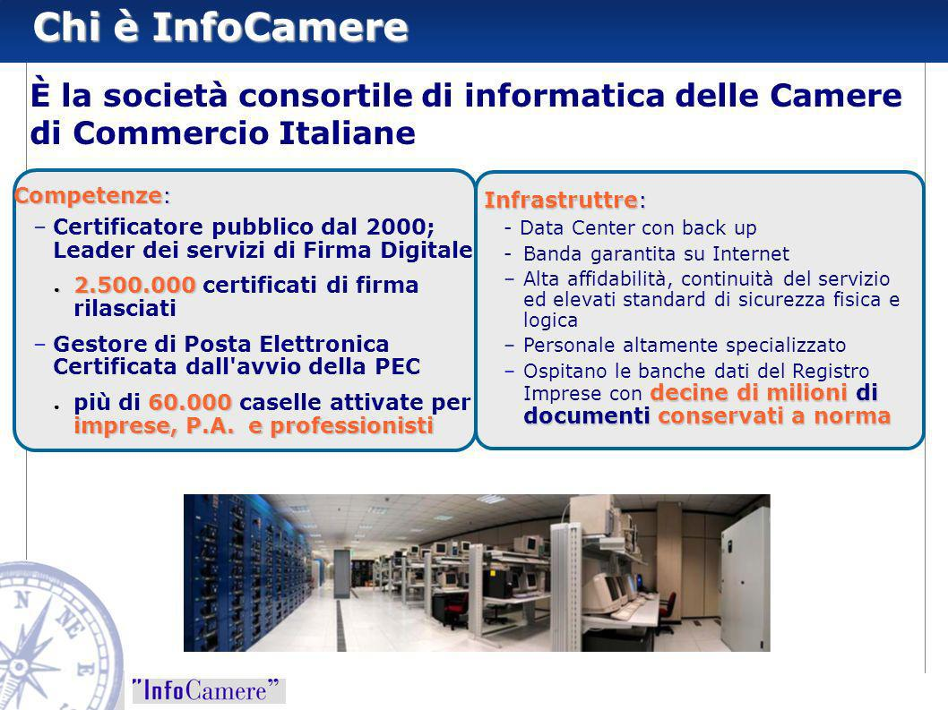Chi è InfoCamereÈ la società consortile di informatica delle Camere di Commercio Italiane. Competenze: