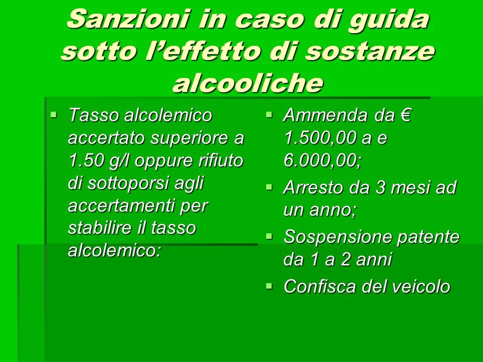 Sanzioni in caso di guida sotto l'effetto di sostanze alcooliche