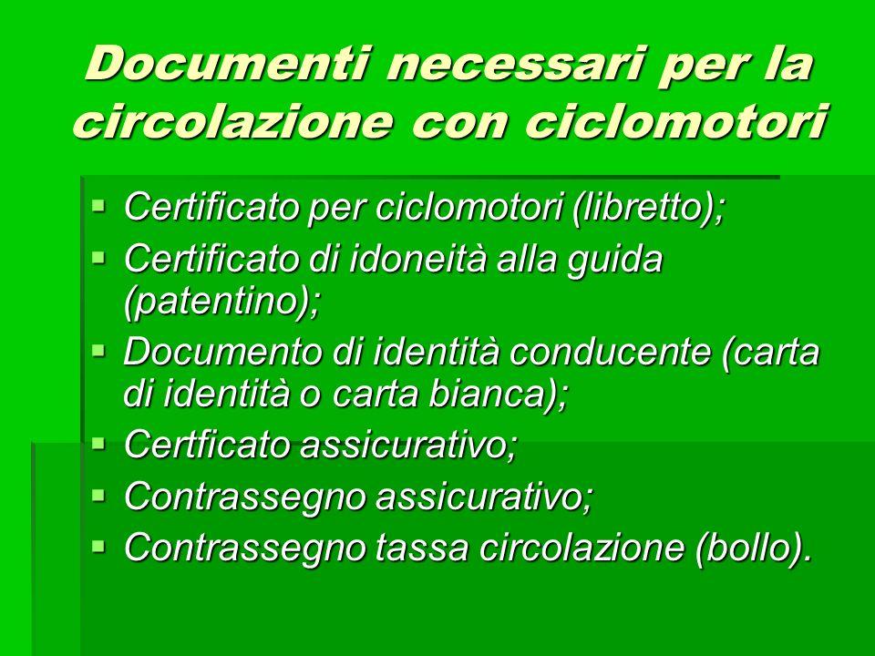 Documenti necessari per la circolazione con ciclomotori