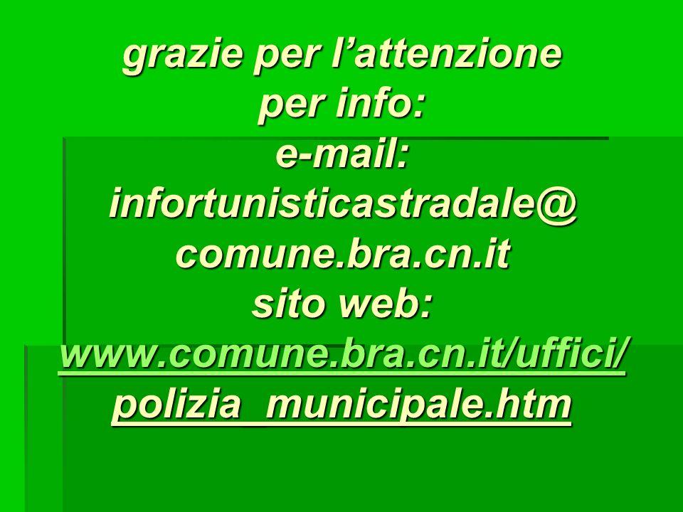 grazie per l'attenzione per info: e-mail: infortunisticastradale@ comune.bra.cn.it sito web: www.comune.bra.cn.it/uffici/ polizia_municipale.htm