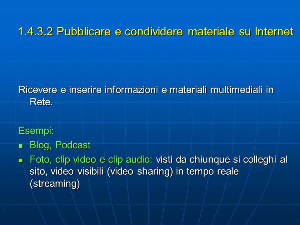 1.4.3.2 Pubblicare e condividere materiale su Internet
