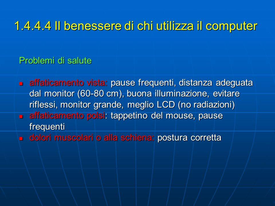 1.4.4.4 Il benessere di chi utilizza il computer