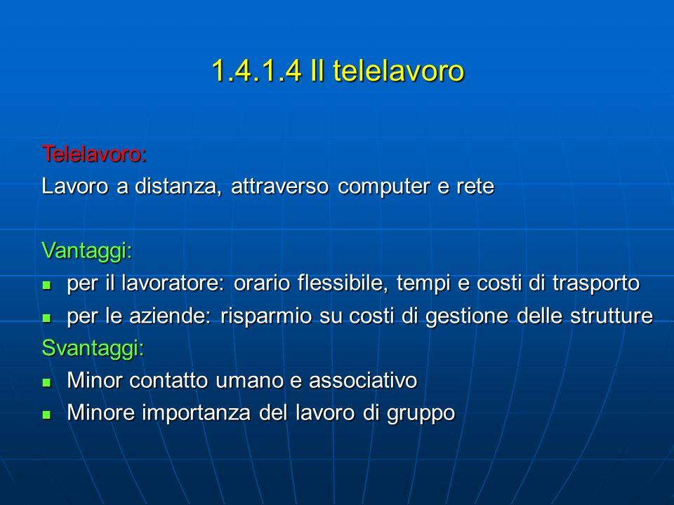 1.4.1.4 Il telelavoro Telelavoro: