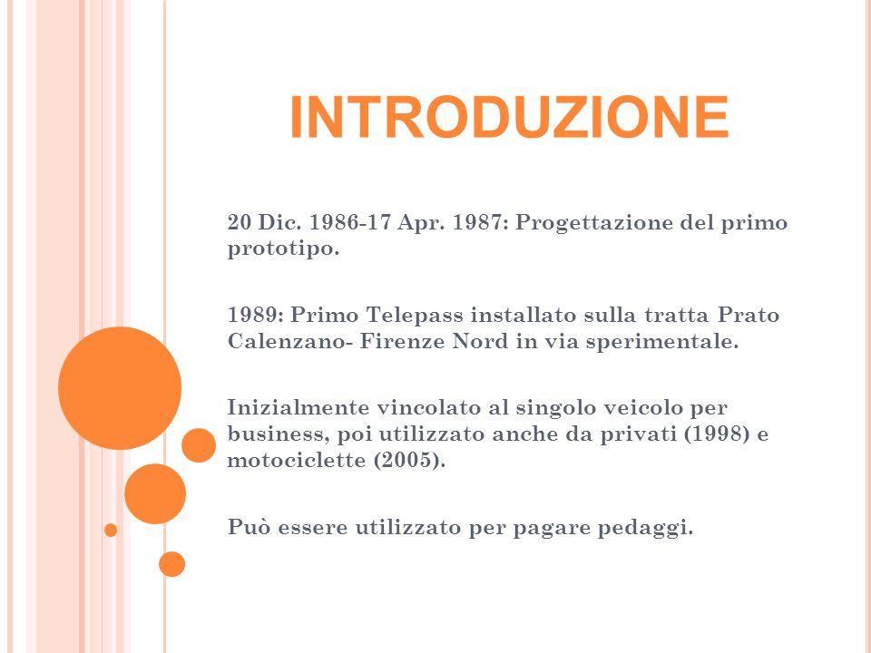 INTRODUZIONE 20 Dic. 1986-17 Apr. 1987: Progettazione del primo prototipo.