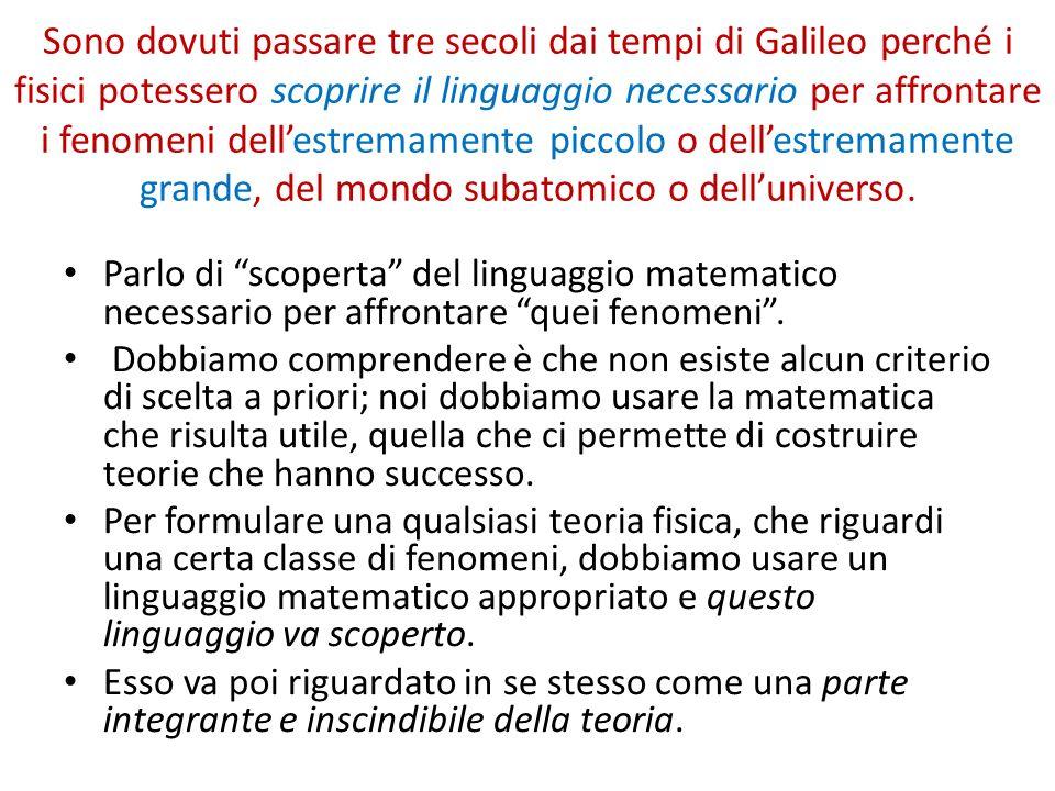 Sono dovuti passare tre secoli dai tempi di Galileo perché i fisici potessero scoprire il linguaggio necessario per affrontare i fenomeni dell'estremamente piccolo o dell'estremamente grande, del mondo subatomico o dell'universo.