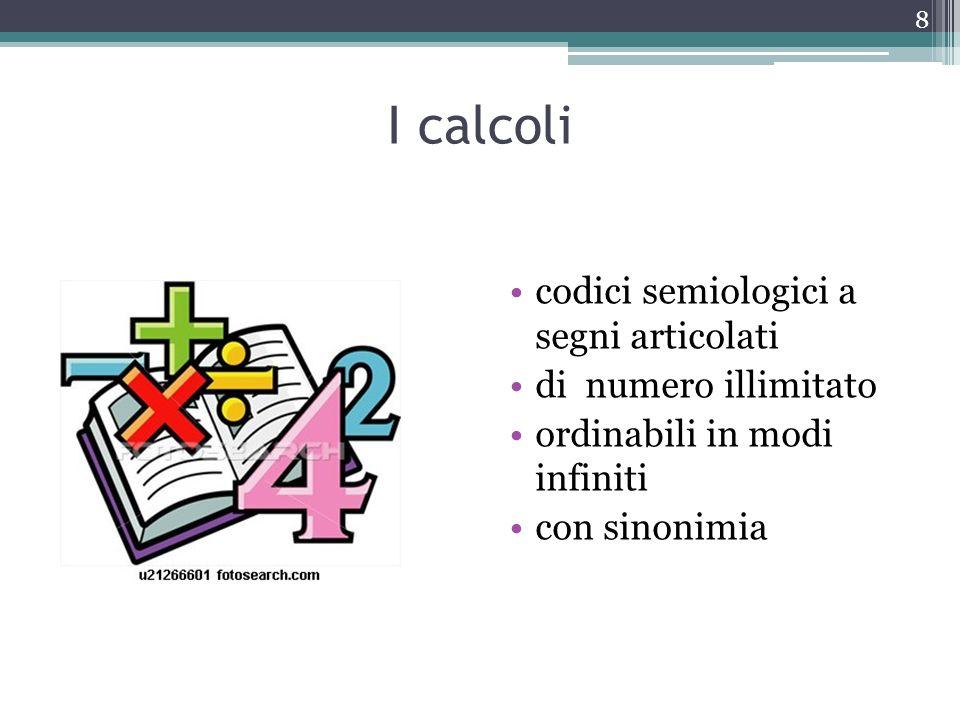 I calcoli codici semiologici a segni articolati di numero illimitato