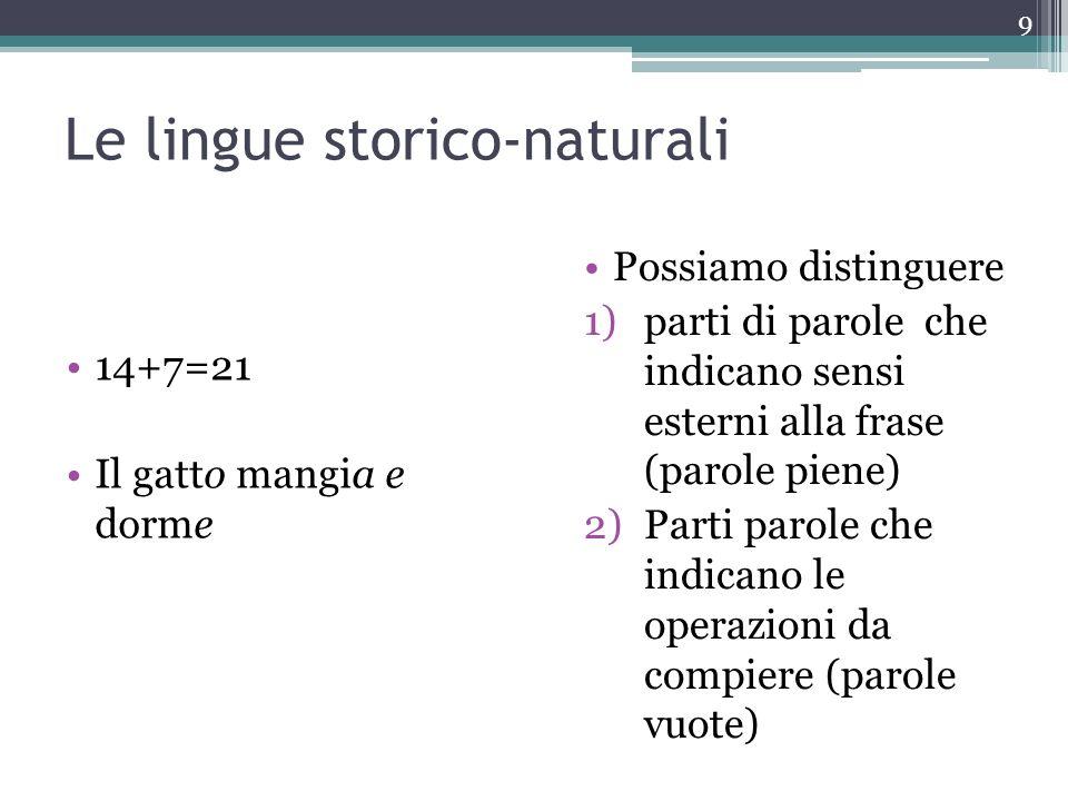 Le lingue storico-naturali