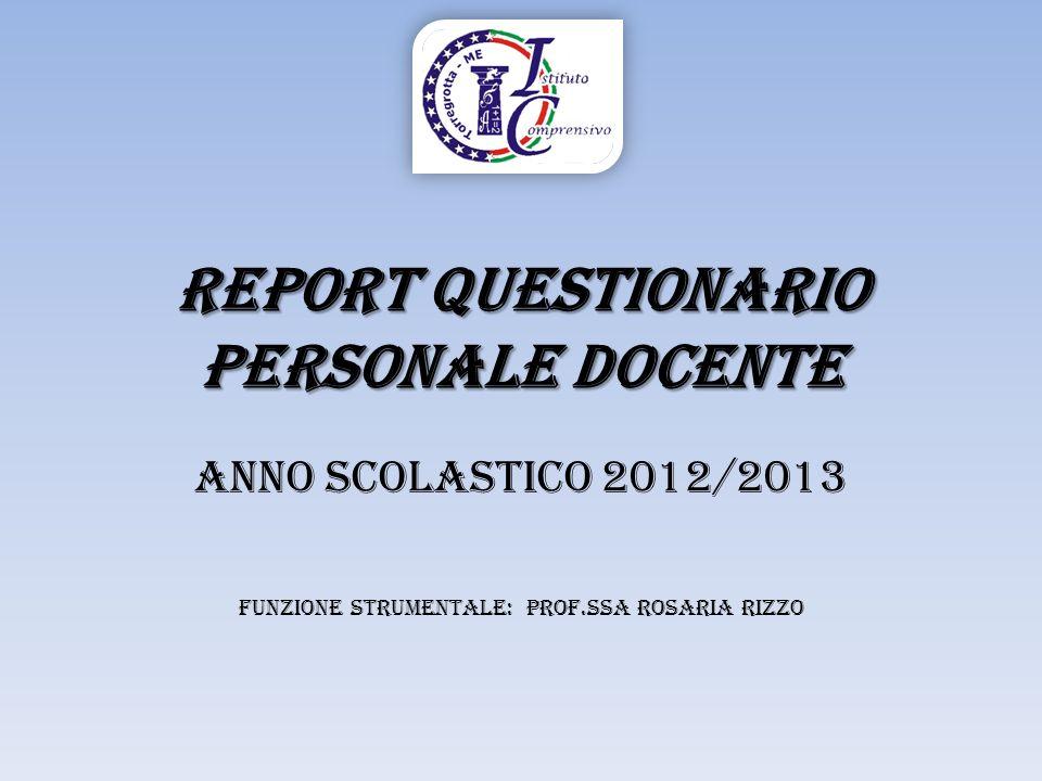 REPORT Questionario personale Docente