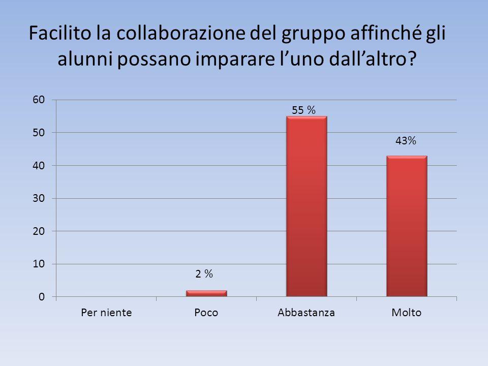 Facilito la collaborazione del gruppo affinché gli alunni possano imparare l'uno dall'altro