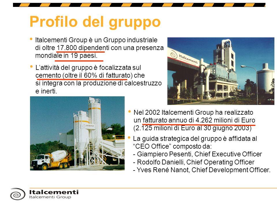 Profilo del gruppo Italcementi Group è un Gruppo industriale di oltre 17.800 dipendenti con una presenza mondiale in 19 paesi.