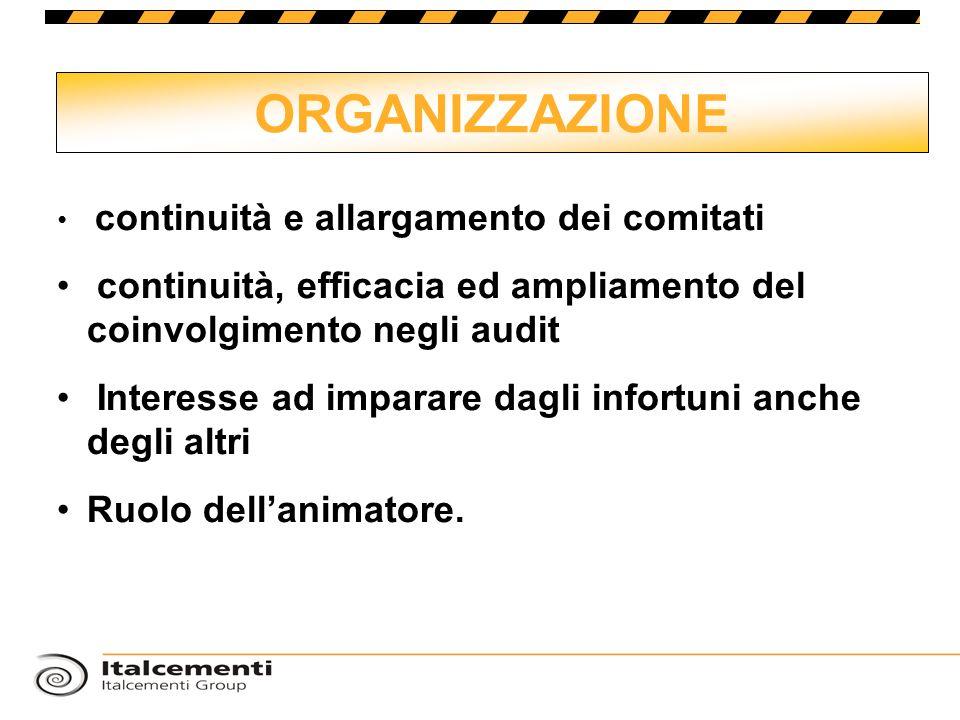 ORGANIZZAZIONE continuità e allargamento dei comitati. continuità, efficacia ed ampliamento del coinvolgimento negli audit.