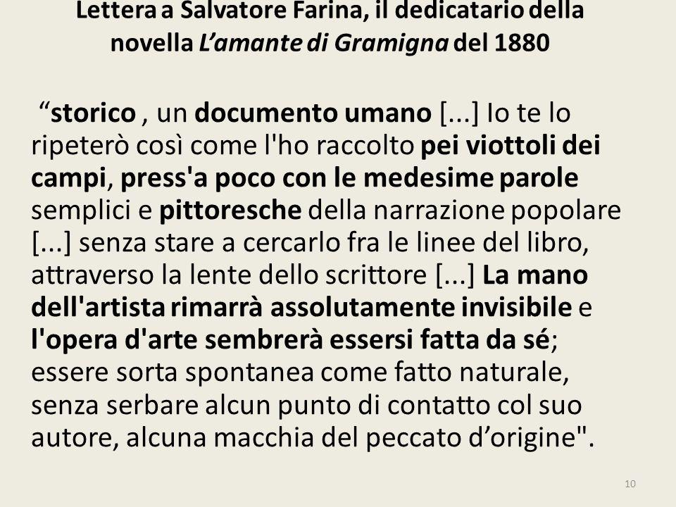 Lettera a Salvatore Farina, il dedicatario della novella L'amante di Gramigna del 1880