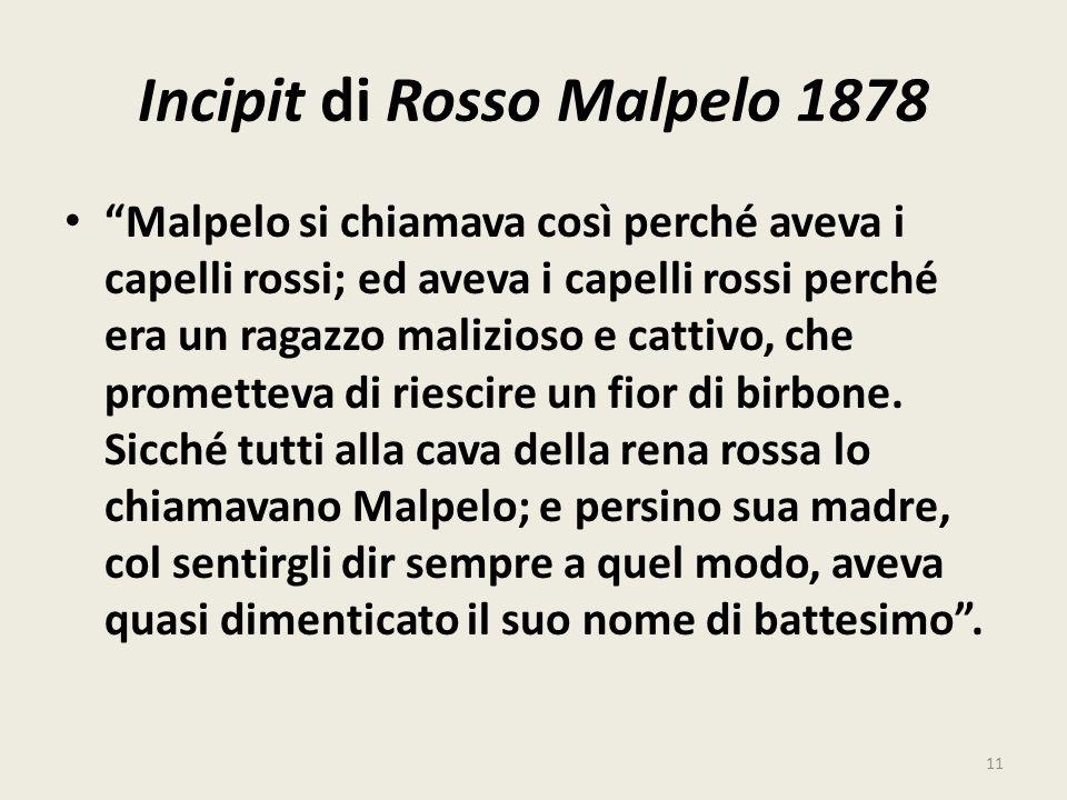Incipit di Rosso Malpelo 1878