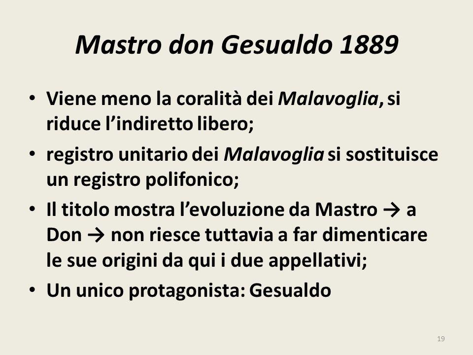 Mastro don Gesualdo 1889 Viene meno la coralità dei Malavoglia, si riduce l'indiretto libero;