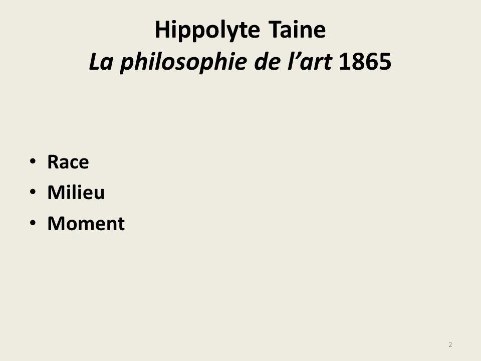 Hippolyte Taine La philosophie de l'art 1865