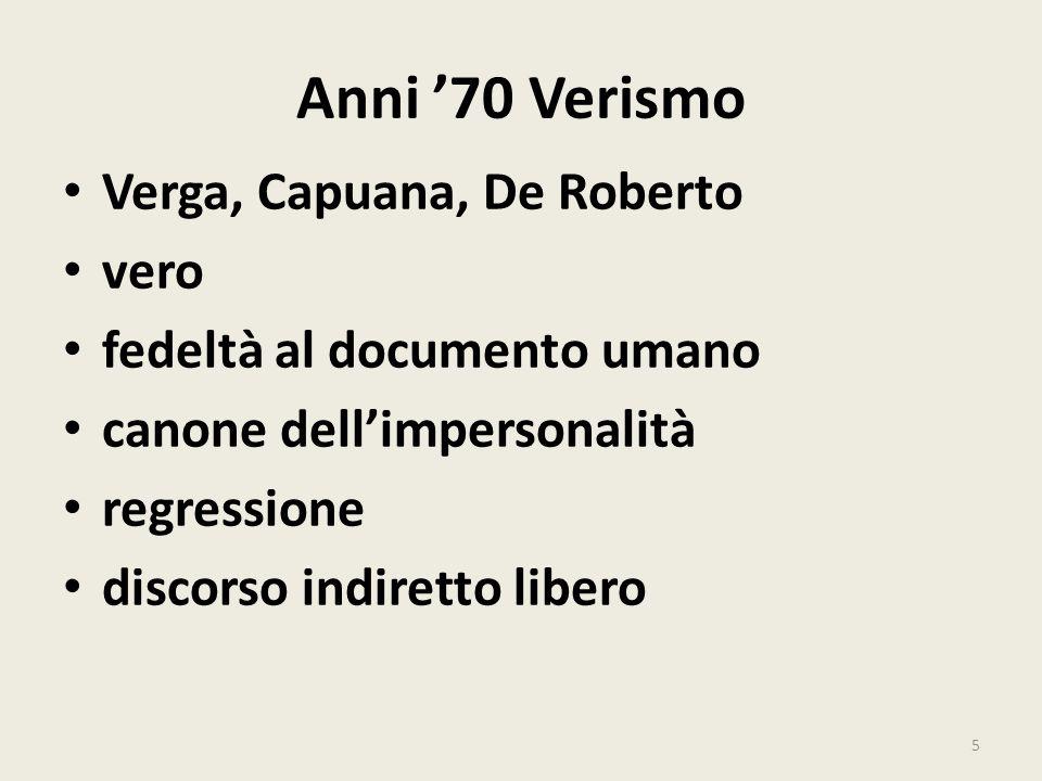 Anni '70 Verismo Verga, Capuana, De Roberto vero