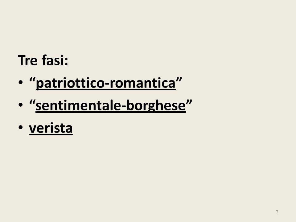 Tre fasi: patriottico-romantica sentimentale-borghese verista